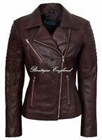 Ladies Stylish Jacket Leather Brown Biker Style Fashion Real Leather Jacket 9334