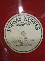 "Buenas Nuevas Telugu Song Praise Christ RARE 10"" LP colour RECORD INDIA g+"