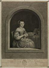J.G. Wille: Tricoteuse Hollandoise, 1757 n. Mieris f. Eberts. Sehr guter Druck!