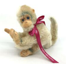 Hermann Germany White Monkey Mohair Plush 12cm 5in 1960s no ID Vintage
