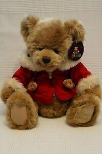 HARRODS Christmas Teddy Bear 2007 Golden faux Fur Red Hooded Jacket BNWT (JH)