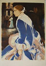 """""""Femme espagnole à la robe bleue"""" Lithographie signée Saito SABURO"""