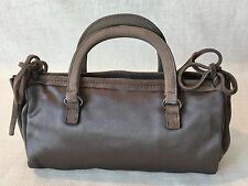 PRADA MILANO Italian Dark Grey Silk Satin Small Evening Handbag w/Suede Accent