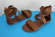 Faded Glory Girl's Brown Leather Ankle Wrap SANDALS Shoes~Size 4~Backside Zipper