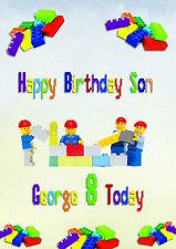 personalised birthday card Lego Blocks son grandson brother nephew