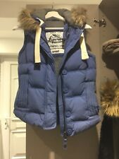 Superdry Academy Blue Hooded Down/Feather Padded Gilet Jacket Waistcoat Small