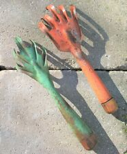 New Listing2 Vtg. She Shed Garden Tools Metal & Wood Claw/Scratcher One Orange; One Green