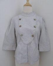 MAYLE pinstripe jacket sz 8 cotton linen 3/4 sleeves