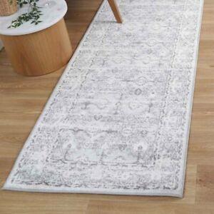 Rothbury Eyelets Distressed Grey Ivory Transitional Floor Rug Runner - 80x300cm