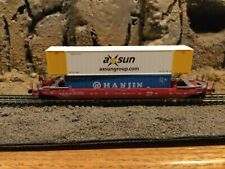 N scale Roundhouse  husky stack well car w/ containerGBRX GREENBRIER mtl cplrs