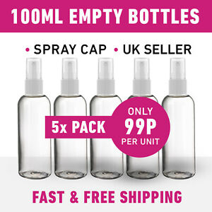100ML Empty Plastic Bottles + Spray Caps for Hand Gels & Lotion *5 Pack*