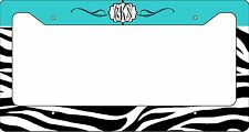 MONOGRAMMED LICENSE PLATE FRAME CUSTOM CAR TAG BLUE ZEBRA SCROLL