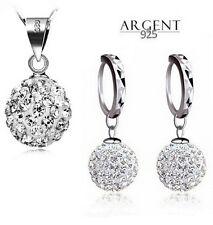Parure bijoux Shamballa Cristal Blanc Argent 925
