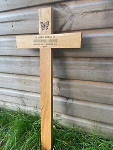 "oak Wooden Memorial Cross grave marker 36"" Free Plaque & Free Engraving"