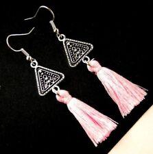1 Bohemian Pair of Tibetan Style Pink Cotton Tassel Dangle Earrings #698