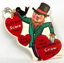 Valentines Card Vtg 40s 50s Ephemera Greeting Scarecrow Black Bird Farm Harvest