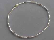 "Bar + 3 Bead Link Italy 925 New 10"" Italian Sterling Silver Ankle Bracelet"