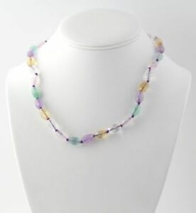 """NEW Multi-Color Pastel Beaded Necklace 18""""- Sterling Silver Genuine Women's"""