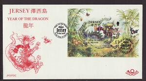 Jersey 2000 FDC - Year of the Dragon - with m/sheet