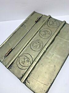 VINTAGE ALUMINUM  METAL BOX HINGED DESIGN = FACES   9 3/8'' X 8''