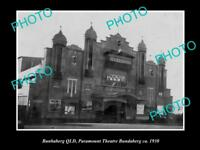 OLD LARGE HISTORIC PHOTO OF BUNDABERG QLD VIEW OF THE PARAMOUNT THEATRE c1930