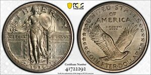 1916 25C Standing Liberty Quarter Dollar PCGS UNC Detail Cleaned