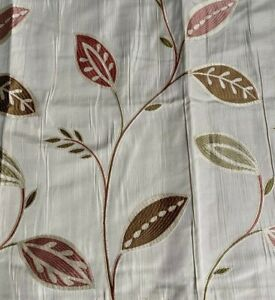 """Montgomery Jacquard Style Leaf Design Curtains In Terracotta & Sage 46""""W x 72""""L"""