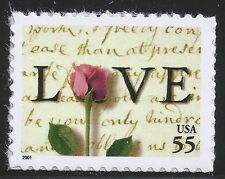 US Scott #3499, Single 2001 Love 55c VF MNH