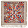 1696-2 AUTHENTIC PAVLOVO POSAD SHAWL RUSSIAN SCARF 100% WOOL KERCHIEF 89x89 cm