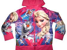 Frozen Elsa Olaf Girls vibrant pink hooded sweatshirt jacket Size 4 Age 4-5 yrs