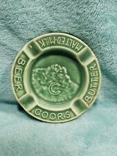 "Htf Green Pottery 1934 Coors Usa Beer Butter Malted-Milk 4.5"" Ashtray Colorado"