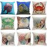 Cotton Linen Colored Crab & Conch Pillow Case Car/Sofa Cushions Cover Home Decor