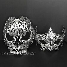 Men Women Couple Silver Metal Evil Skull and Venetian Laser Cut Masquerade Masks