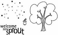 """Unity Stamp Unmounted Red Rubber Stamps .75""""x1"""" To 3""""x3.5""""-Little Sprout"""