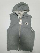 CONVERSE, Mens Size M, Grey, Large Logo, Full Zip Sleeveless Hoody, NEW
