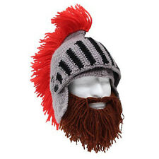 Roman Helmet Barbarian Knight Knit Brown Beard Ski Mask With Hat Face Mask NEW