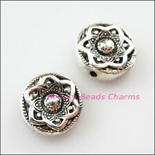 3Pcs Tibetan Silver Round Flower Flat Spacer Beads Charms 14mm