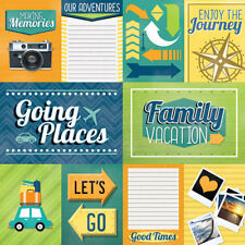 12x12 Paper House FAMILY VACATION TAGS Scrapbook Paper Travel