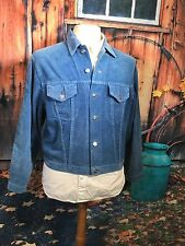 VINTAGE 1960`S WRANGLER BLUE BELL SKY BLUE CORDUROY JEAN JACKET UK 42 CHEST