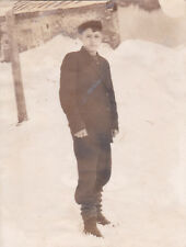 1950s Handsome young boy in winter old Russian Soviet photo