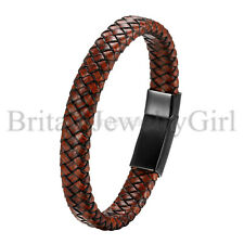 Punk Brown Leather Braided Wristband Stainless Steel Magnetic Bracelet for Men