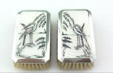 More details for lovely art deco silver &  guilloche enamel brushes 1927