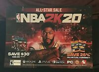 "NBA 2K20 Poster Gamestop 36"" x 26"" ANTHONY DAVIS Promotional Poster NEW"
