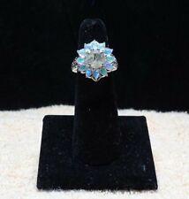 Diamond Rutilated Quartz, E. W. Opal, Platinum Over 925 SS Ring Size 5