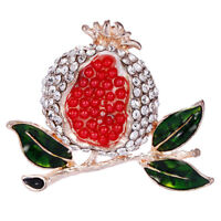 Crystal Rhinestone Red Pomegranate Brooch Pin Suit Collar Brooch Jewelry Gift PF