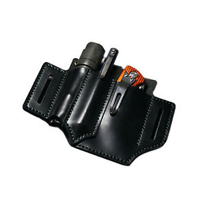 Portable Belt Pouch Leather EDC Pouch Tool Kit Bag Flashlight Pen Knife Pouch