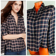 Ann Taylor LOFT Medium SOFTENED Popover Shirt TUNIC TOP Navy Blue Red PLAID  n