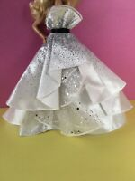 White /& Silver TIERED A-LINE BALL GOWN Cupcake MODEL MUSE /& FR FASHION /_NEW