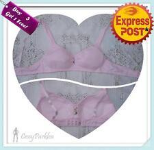 Girls Tiny White Pink Grey Wire-free Cotton Slight Padded Bras Size 4-8A AU