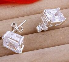 Brand New  white gold GF 8mm Stud Earrings with Cubic Zirconia Stone